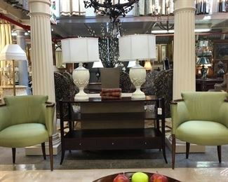 Hickory Chairs and Coral Lamps
