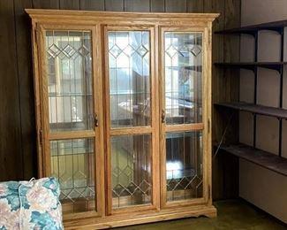 Large Curio Cabinet w/ Beveled Glass Doors Brass Diamond Shape Accents, Lights