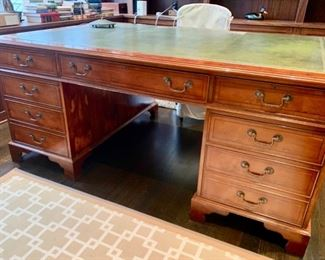 "7. Partners Desk w/ Leather Inlay from ABC Carpet (3pc) (72"" x 48"" x 32"")"