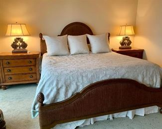 """King size bed by """"Tommy Bahama"""" Lexington (mattress box spring not available)"""