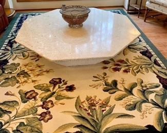 Massive marble coffee table, approx 5' by 5' & solid!