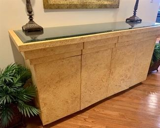 Credenza with a faux alligator hide top (see next photo), 6' wide