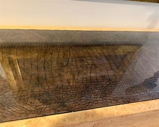 """Faux alligator hide top (under glass) credenza, 6' wide by 22"""" deep"""