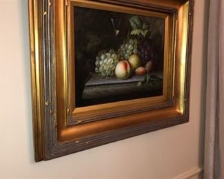 FRUIT STILL LIFE PAINTING IN GOLD FRAME, SIGNED PALMER.