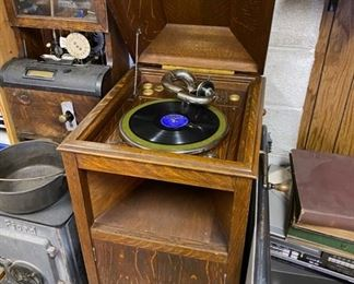 Antique Record Player in Cabinet