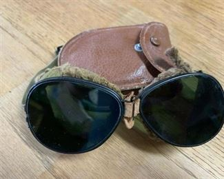 WWI Antique Fur Lined Pilot Aviation Goggles with Case