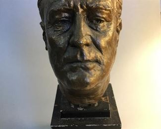 Franklin D. Roosevelt Cast Metal Bust by J. Davidson