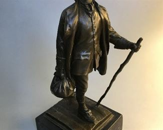 "Bronze Sculpture on Marble ""The Youthful Franklin"" Ben Franklin"