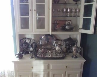 One of two free standing solid wood white cupboards
