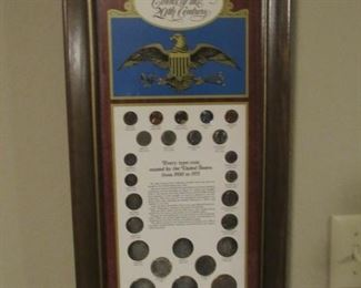 Vintage coin display with silver coins