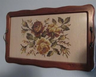 Embroidery in oak serving tray