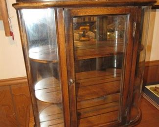 Walnut curved glass hanging cabinet