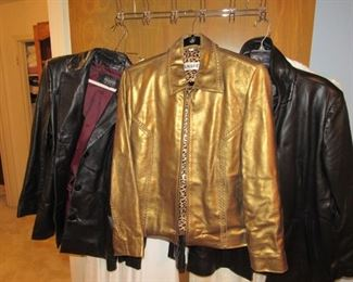 Leather jackets featuring a gold one