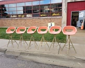 (6) Mid Century Salmon fiberglass Eames style tall swivel bar chairs (located in Melrose park) Was $1795 Now $1495 for all 6