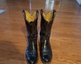 Justin brand western black lizard boots - Men's size 9