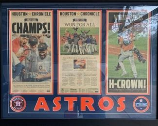 """Astros World Series Champs!!  Houston Chronicle - 11/2/2017 ~ custom matted and framed  3 ft 7 1/2"""" wide X 2 ft 9 1/2"""" tall"""