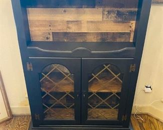 Unique multi-stained upside down double doored china cabinet