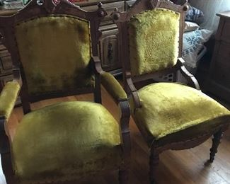 Great Victorian Chairs.  Good condition.  You can always change them out