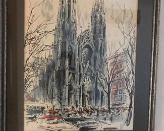 Beautiful water color and pen of cathedral