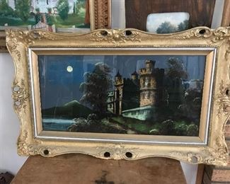 Reverse painted picture on glass.  No cracks in glass or paint.