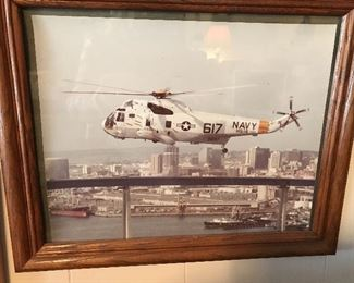US Navy #617 Helicopter Framed Picture.