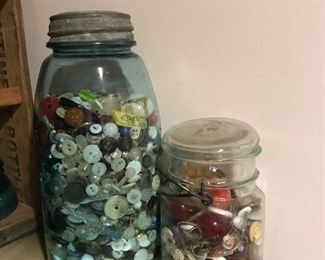 Buttons and jars of all kinds