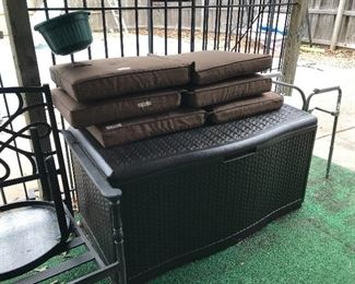 cushions and great  patio storage box