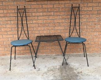 Nice vintage hair pin chairs and table