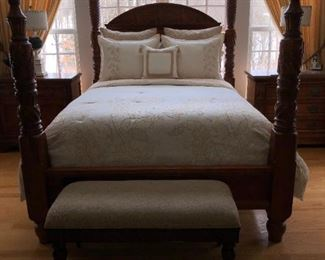 Hickory White Carved Bed - Queen with mattress and boxspring