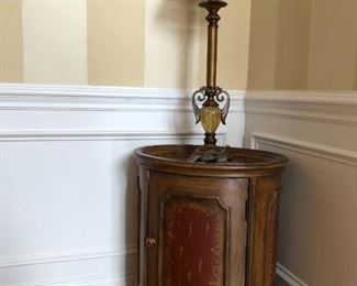 Small painted cabinet + lamps (pair)