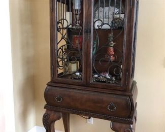 Lighted Curio - leather accents
