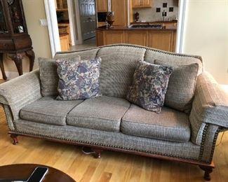 Chenille Suford Sofa with decorative tacks