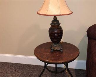 Wood top/metal base side table