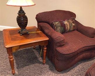 Raymour + Flanigan Chair + table + lamp