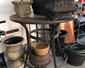 Planters and table from bistro set