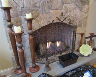 candle holders, fireplace screen