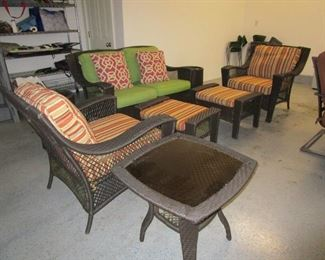 Loveseat 2 chairs with ottoman and 3 tables (set)