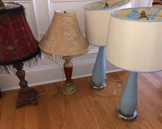 lamps - blue are Laura Ashley - shades reflect bitds from interior when on