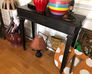 lamps, decor, painted console table, planter