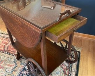 SERVING CART WITH DRAWER AND ORIGINAL GLASS TOP TRAY