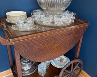 ROLLING TEA CART WITH PUNCH BOWL AND OTHER SERVICE ACCESSORIES