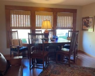 OMISH MADE MISSION OAK TABLE AND 6 CHAIRS, MATCHING HUTCH IN KITCHEN