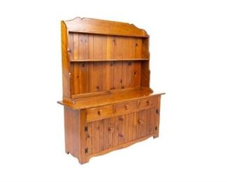 """W.R. Dallas stepback cabinet, open shelving, three drawers over doors that open to shelved interior, flanking single drop front door, separates into two parts, stamped with makers brand. 77 x 71 x 20"""""""