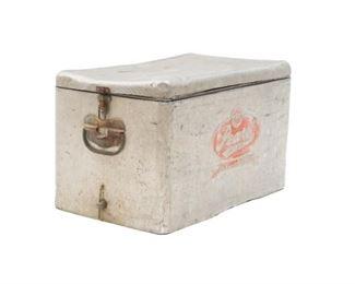 """Vintage metal dual handled Pearl Beer cooler, to include lid. 13 x 22.5 x 13"""""""