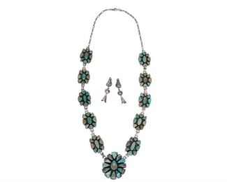 """Sterling silver necklace and earrings set with turquoise accents, signed Ella Peter  Necklace length: 32"""", pendant: 2"""", weight: 200g Earrings: 2.5"""", 15g"""