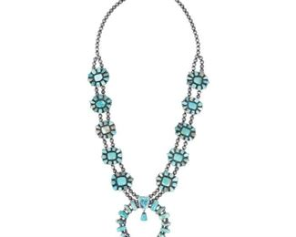 """Sterling silver squash blossom necklace with turquoise accents, signed Ella Peter. Necklace length: 34"""", pendant: 4"""", weight: 307g"""
