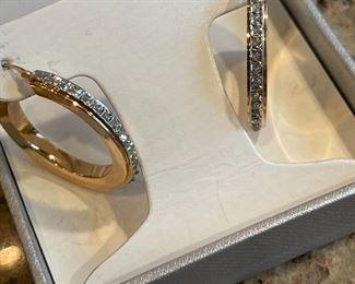 14k gold diamond earrings.