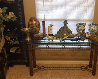 Asian vases, decor, glass top table