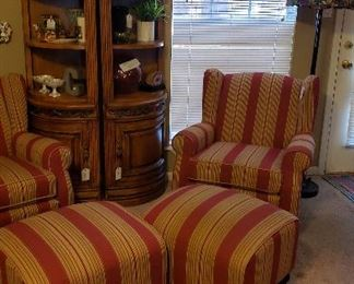 corner cabinets or extras for entertainment center, stripped chairs with ottomans