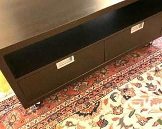 """Low cabinet on casters/two drawer Dimensions: 47""""L/23.5""""W Price: $425"""